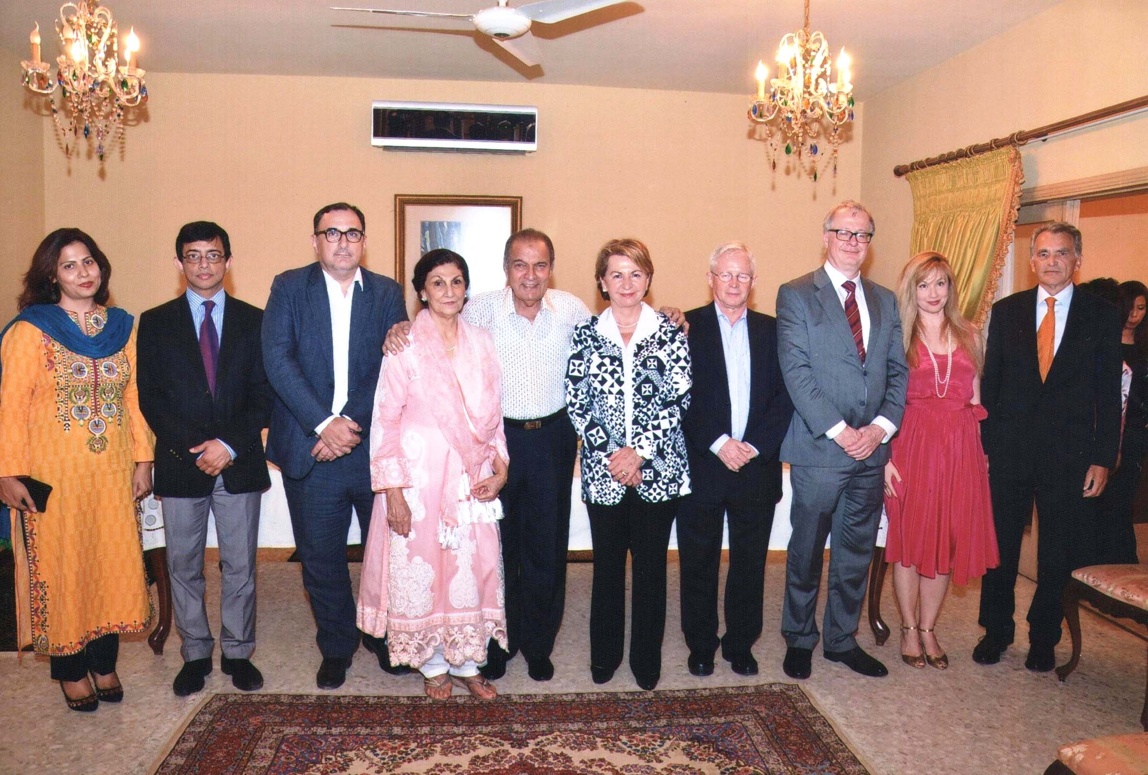 From left to right: Mrs. Shakeel MAPARA, Mr. Shakeel MAPARA, Mr. Giulio IAZEOLLA, Acting Consul of Italy, Mrs. Nargis Kader Jaffer, Host Mr. Abdul Kader Jaffer, Her Excellency, Mrs. Martine DORANCE, Ambassador of France to Pakistan, Mr. Dall'Orso François, French Consul General, Dr. Tilo Klinner German Consul General, Mrs. Tilo Klinner, Mr. Dorance.