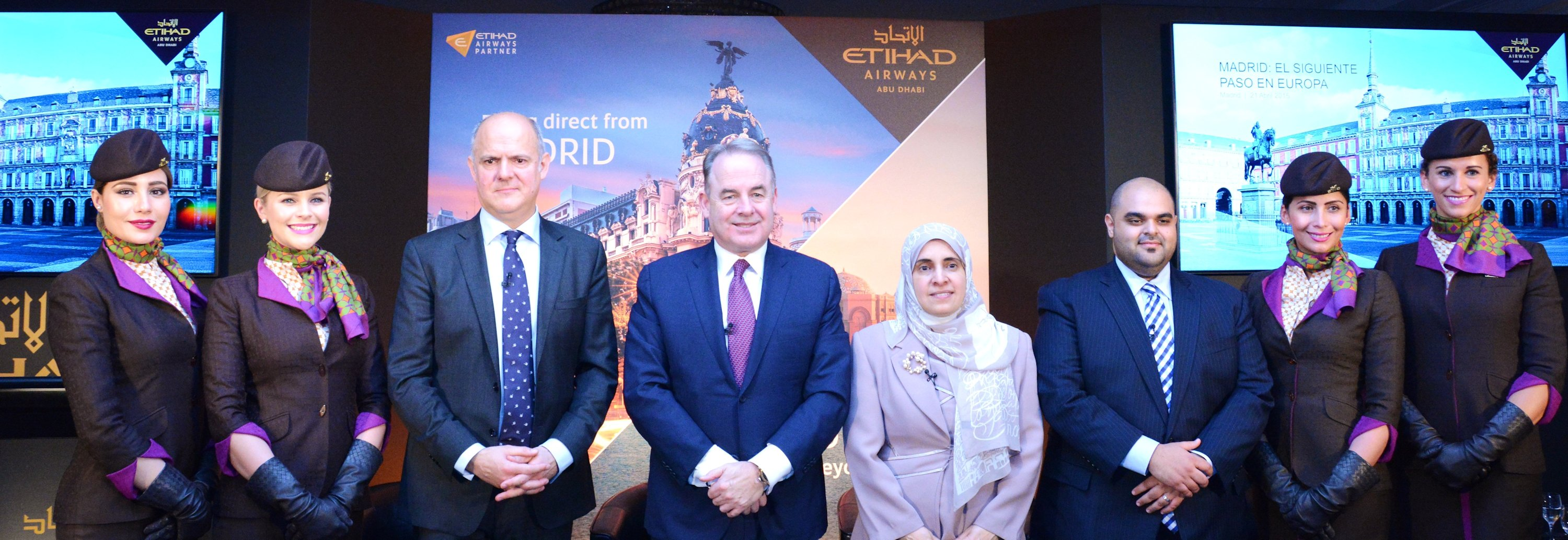 (left to right)Jordi Porcel, General Manager Spain, Etihad Airways; James Hogan,  President and Chief Executive Officer, Etihad Airways; Her Excellency Dr Hissa Abdulla  Ahmed Al-Otaiba, UAE Ambassador to the Kingdom of Spain; and Haitham Al Subaihi,  Vice President UAE Sales, Etihad Airways; at the airline's media conference in Madrid  on 21 April 2015.<p><p id=