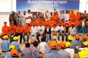 Group photo taken after the completion of Sandspit Beach cleaning activity jointly organized by SSGC and WWF Pakistan. Shahbaz Islam, Head of Corporate Communications SSGC and Asad Shahbaz, Corporate Relations Manager of WWF seen in the picture with their team members and the participant students .