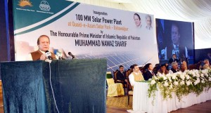 Prime Minister Muhammad Nawaz Sharif addressing at the inauguration of 100 MW Solar Power Plant at Quaid-e-Azam Solar Park, Bahawalpur on May 5, 2015.<p><p id=