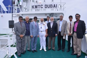 Photograph of vessel KMTC Dubai is taken on the occasion of its arrival at Karachi Port on maiden voyage. The vessel has length overall of 265 meters and is capable of carrying 5,500 TEU containers at a time is called by their agents in Pakistan – The United Marine Agency. Chairman KPT Vice Admiral Shafqat Jawed HI (M) and COMKAR Vice Admiral S. Arifullah Hussaini HI (M) are both the Chief Guests on the occasion which was attended by top officials of KPT, UMA and PICT.