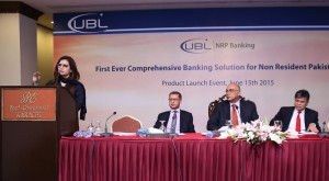 UBL recently launched its NRP Banking offering at the Pearl Continental Hotel, Karachi. Mr. Wajahat Husain, President & CEO, UBL (second from right) attended the event. Also seen in picture are Ms. Maliha Anwer Khan, Head Wealth Management & NRP, UBL (first left) Mr, Abrar Mir, Group Executive, Banking Products, UBL (second left) and Mr. Aameer Karachiwalla, COO-UBL (first right).