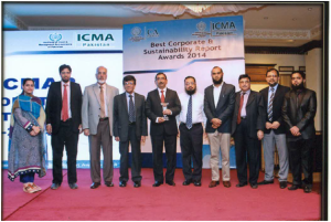 Mr. Altaf Qamruddin Gokal CFO EFU General Insurance Limited received Best Corporate and Sustainability award from the past president of ICMAPat a function held recently. Picture shows Altaf Qamruddin Gokal, Jaffer Dossa, Quaid Johar, Moiz Hussain, Saima Morkas Motiwala, Munawar Salemwala, Atif Anwar, Aslam Ghole, Arshad Ali Khan, and Muhammad Waqas Bandukdaon the occasion.