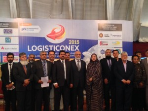 Group picture shows Kamran Michael, Federal Minister for Ports & Shipping, Government of Pakistan along with Mohammed Hanif Ajari Director Supply Chain, Getzs Pharma Pvt. Ltd., Vice Admiral Shafqat Javaid Chairman, KPT, H.E Hadi Santoso Consul General of Indonesia and others at 5th Professionals Shipping , Logistics & Supply Chain Management Conference & Exhibition.