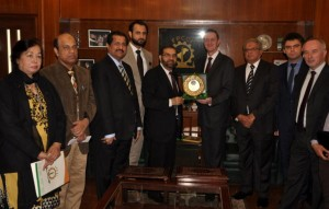 Mian Muhammad Adrees, President FPCCI is presenting FPCCI Crest to Mr. Piotr Opalinski, Ambassador of Poland, Abdul Rahim Janoo, Senior Vice President FPCCI, Mr. Maher Alam Khan, Acting Secretary General FPCCI, Mirza Ikhtiar Baig and Mirza Umar baig and others also seen in picture.