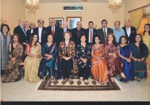 Photograph taken at a farewell dinner held in honor of Ms. Gill Atkinson, the outgoing Deputy British High Commissioner (seated 4th from left) by Mr. & Mrs. Abdul Kader Jaffer the former, Pakistan High Commissioner to U.K. (standing 3rd from right) along with distinguished guests, local diplomats and elite of Karachi